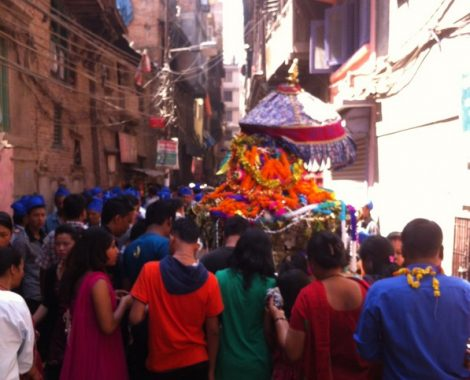 Kathmandu I'm full swing today as it prayers to the gods for the rice they provide...
