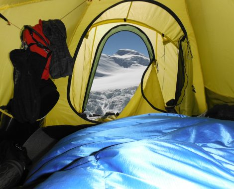 inside my tent at advance base camp.